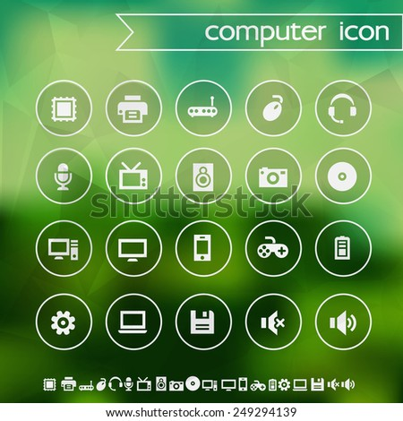 Computer icons on blurred background - stock vector