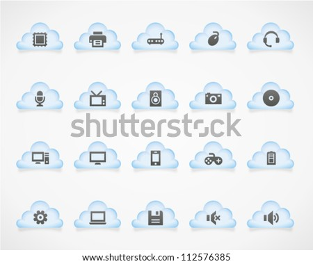 Computer icons on light clouds. Image contains transparency - you can put it on every surface. 10 EPS