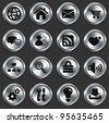 Computer Icons on Metallic Button Collection Original Illustration - stock vector
