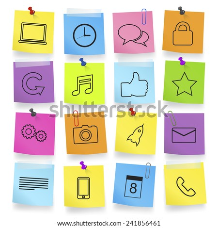 Computer Icons on Note Pad - stock vector