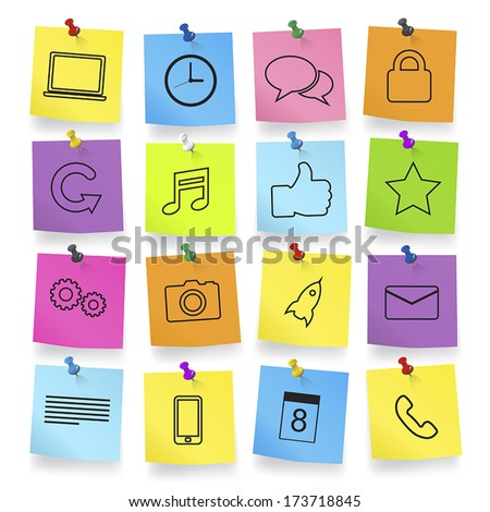 Computer Icons on Note Pad Vector - stock vector