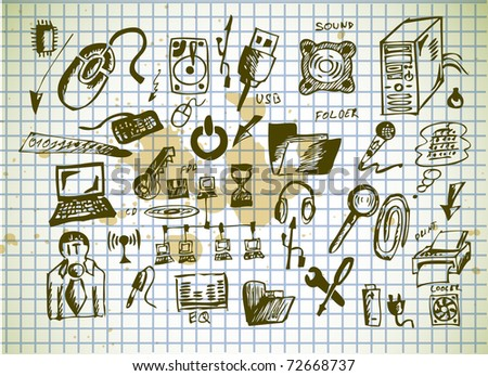 computer icons on old paper background - stock vector