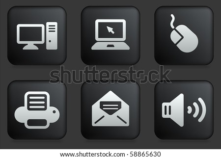 Computer Icons on Square Black Button Collection Original Illustration - stock vector