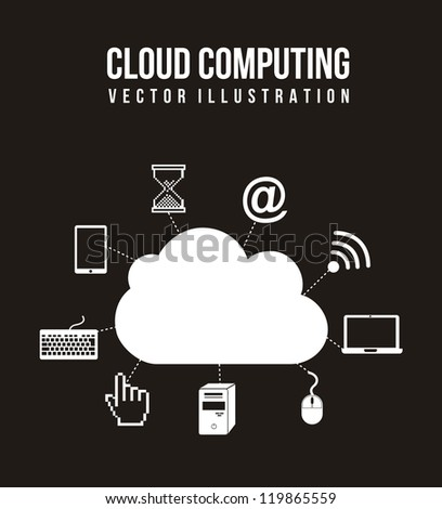 computer icons over black background. vector illustration