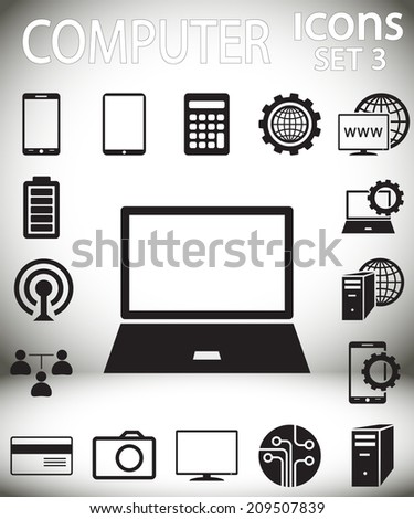 computer icons Set 3,  vector illustration. Flat design style  - stock vector