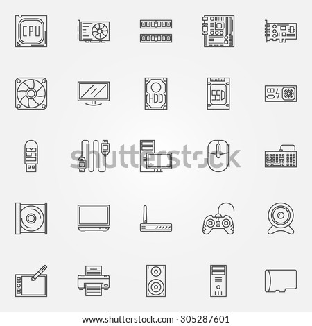 Computer icons set - vector PC symbols of CPU, motherboard, RAM, video card, HDD, SSD, keyboard, power unit, webcam and other components in thin line style - stock vector