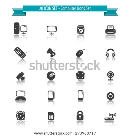 Computer icons set with reflection - 20 Icons Set