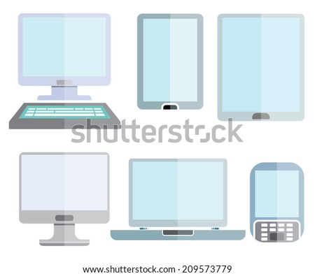 computer icons, smart device icons set, flat design