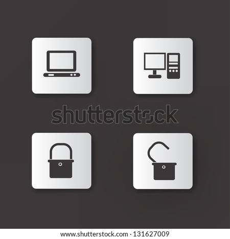 Computer icons,vector - stock vector