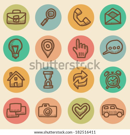 Computer icons vintage drawings set isolated