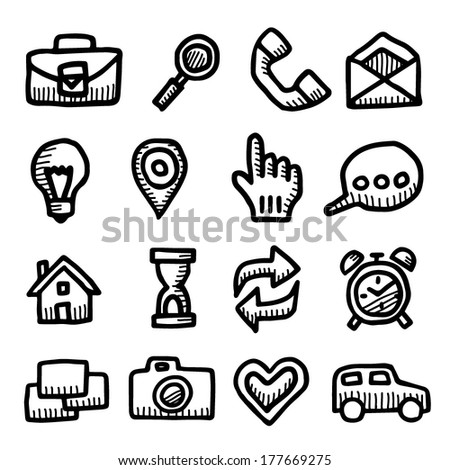 Computer icons vintage drawings set isolated on white background - stock vector