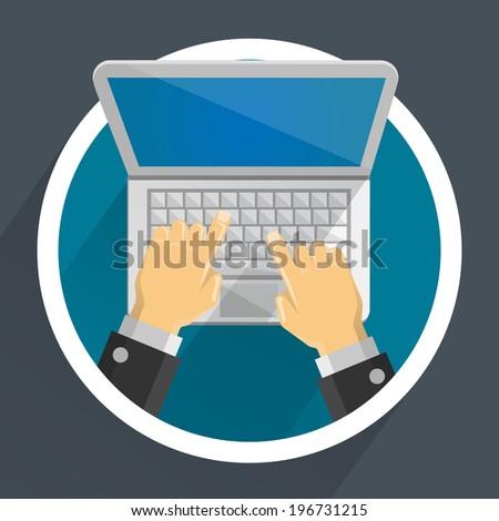 Computer in hands. Vector - stock vector