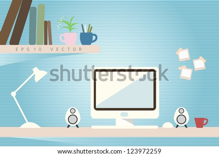 computer in workspace, vector - stock vector