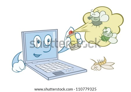 Computer is protecting from viruses - stock vector