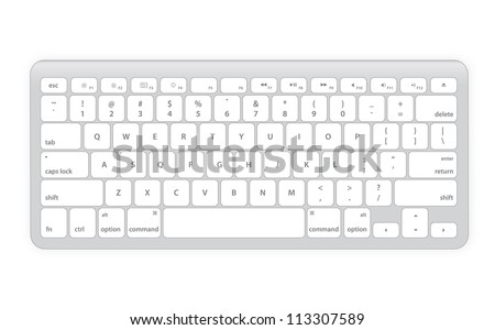 Computer keyboard in white color - stock vector