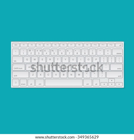 Computer keyboard, isolated on blue background, vector illustration. - stock vector