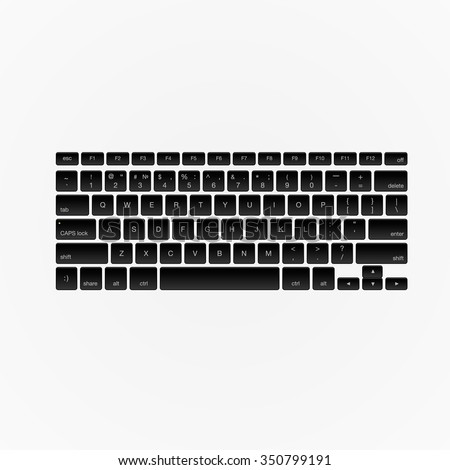 Computer keyboard, isolated on white background, vector illustration. - stock vector