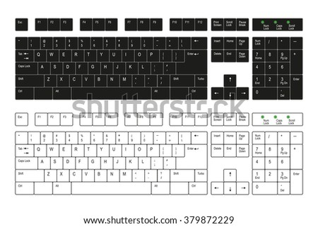 Computer keyboard white and black on a  white background - stock vector
