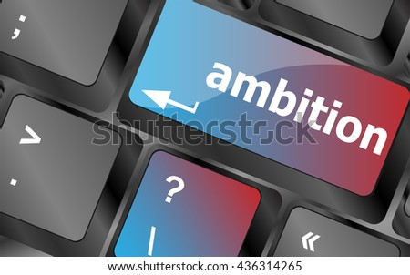 computer keyboard with ambition button - business concept . keyboard keys. vector illustration - stock vector