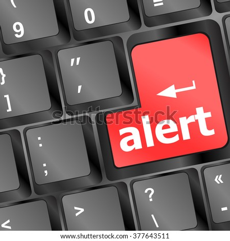 Computer keyboard with attention key alert - business background vector illustration