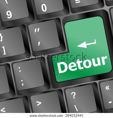 Computer keyboard with detour key - technology background vector
