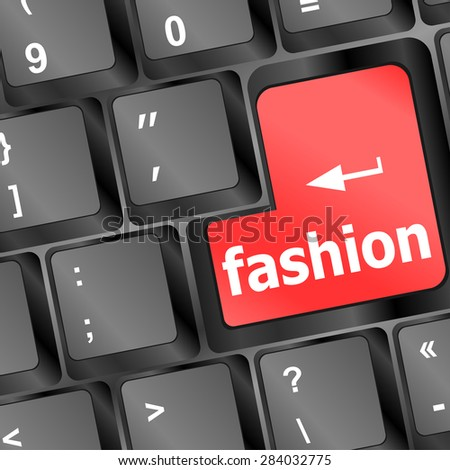 Computer keyboard with fashion words - social background vector