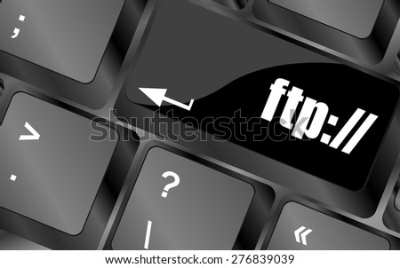 Computer keyboard with ftp key, technology background vector - stock vector