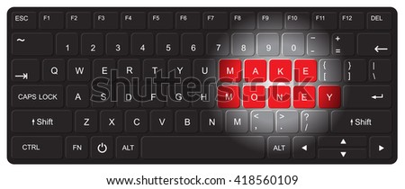 Computer keyboard with make money words , Vector illustration - stock vector