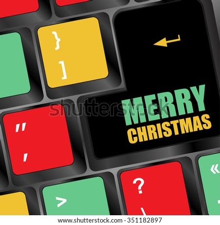 Computer Keyboard Merry Christmas Key Vector Stock Vector 351182897