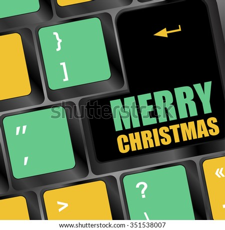 Computer Keyboard Merry Christmas Key Vector Stock Vector 351538007