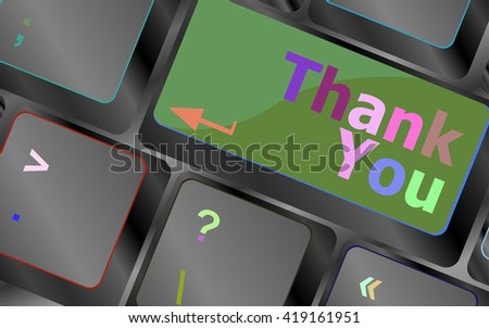 Computer keyboard with Thank You key, business concept vector keyboard key. keyboard button. Vector illustration - stock vector