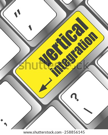 Computer keyboard with vertical integration words - stock vector