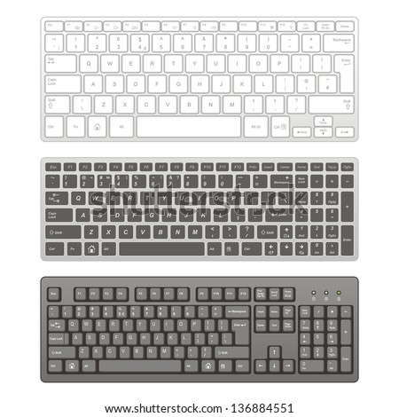 Computer keyboards - stock vector