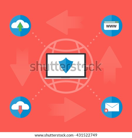 Computer laptop on globe with firewall anti virus for protect malware virus from internet website email upload and download file. Flat design computer security in business concept. - stock vector