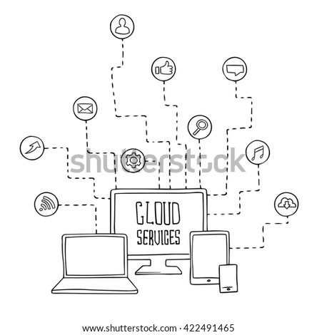 computer, laptop, tablet and phone vector set  - stock vector