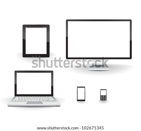Computer, laptop, tablet, phone and smartphone. 3D realistic - stock vector