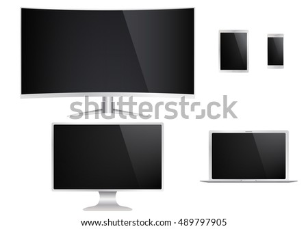 Computer, laptop, tablet, phone. Set of isolated electronic devices. Vector illustration.