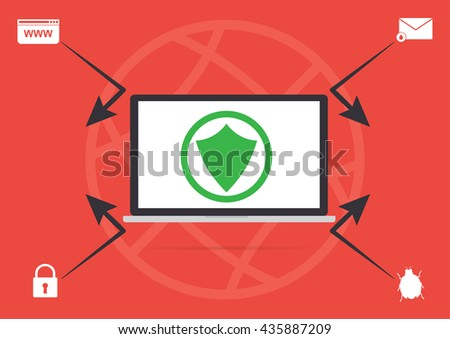 Computer laptop with anti virus online protected concept for protect malware virus from hacker. Cyber security and cyber crime concept design. - stock vector