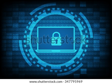 Computer laptop with key in blue of ring and gears on binary code background.Vector illustration security technology concept.