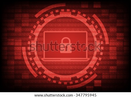 Computer laptop with key in red of ring and gears on binary code background.Vector illustration security technology concept. - stock vector