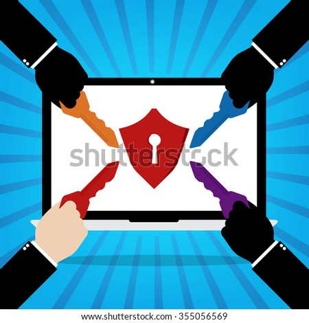 Computer laptop with red protection key lock and human hands with multiple keys for unlock the protection on blue sun ray background. Flat design of cyber security technology concept design.  - stock vector