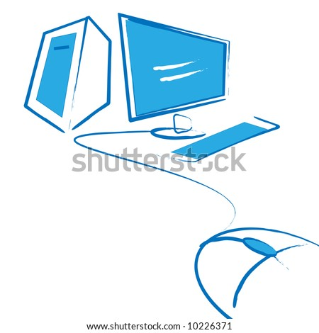 computer,lcd monitor and mouse , workplase sketch - stock vector