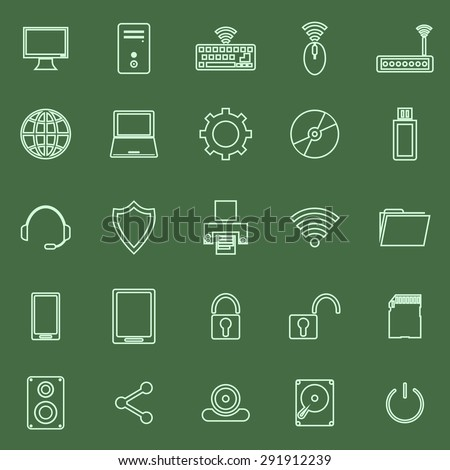 Computer line icons on green background, stock vector