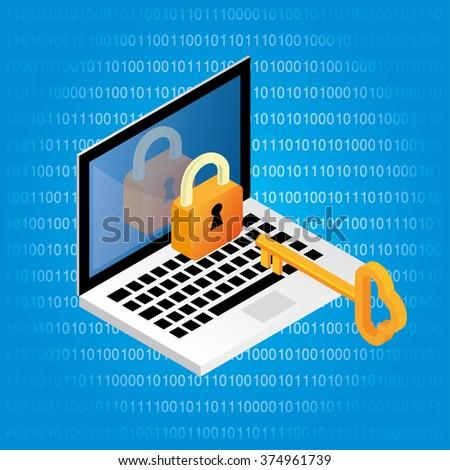 Computer lock and key - stock vector