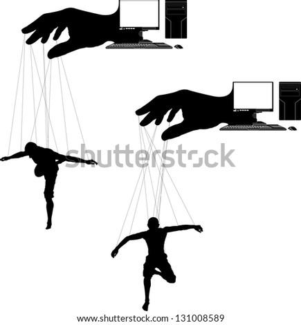 computer marionettes. stencil. vector illustration - stock vector