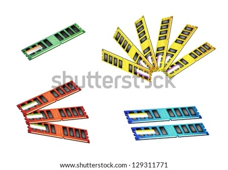 Computer Memory Chips, An Illustration Collection of Colorful Random Access Memory or RAM in Four Assorted Colors