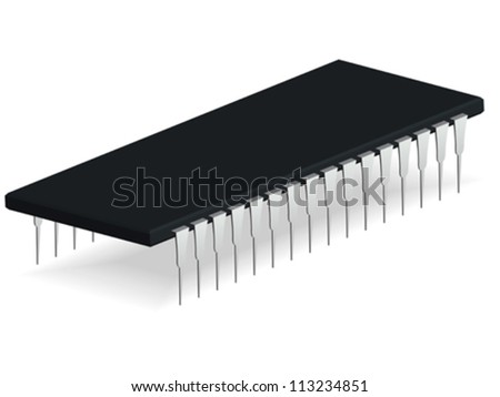 computer microchip against white background, abstract vector art illustration