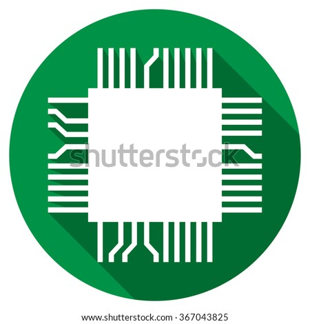 computer microchip flat icon (electronic component symbol) - stock vector