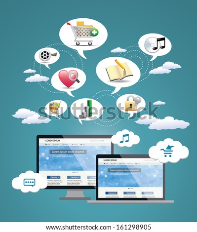 Computer mobility, internet communication and cloud computing concept: white laptop with cloud of color application icons isolated on white background  - stock vector