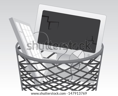 Computer monitor and keyboard in the garbage  - stock vector
